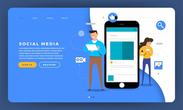 Plataforma de mídia social do conceito do site com dispositivo móvel de toque humano e tela do smartphone. ilustração.