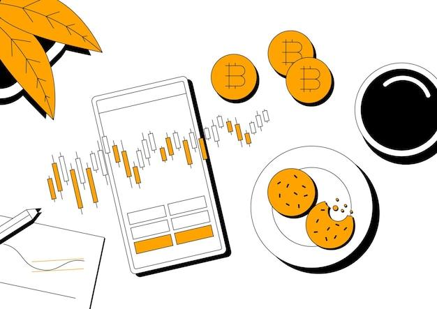 Plataforma de negociação online e conceito de criptomoeda. negociando bitcoin no banner de vetor de linha plana de dispositivo móvel. ilustração linear moderna.