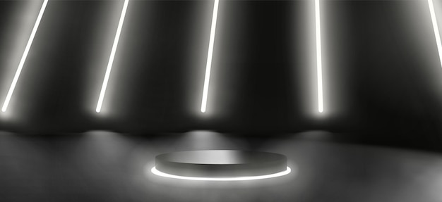 Plataforma de néon escuro ou cena do pódio para apresentação do produto