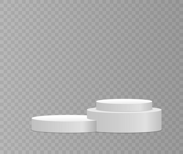 Plataforma de pedestal branco suporte cilindro redondo e quadrado vazio e escada do pódio d