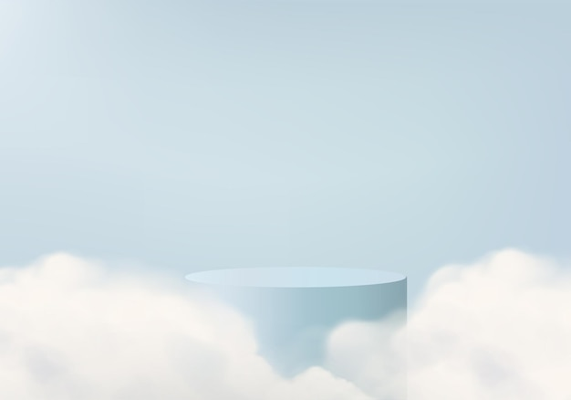 Plataforma de renderização 3d azul com pódio e plataforma mínima de luz na nuvem