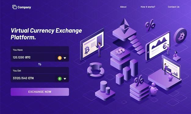 Plataforma de troca de moeda virtual isométrica.