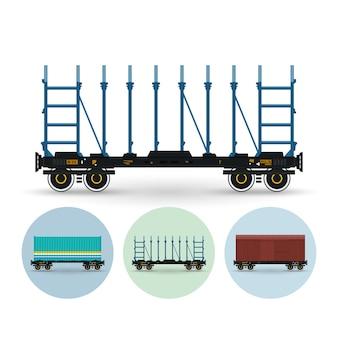 Plataforma ferroviária para transporte de madeira, para transporte de automóveis, equipamentos, carga longa, carga a granel. conjunto de plataforma de contêiner de três ícones coloridos redondos, plataforma ferroviária, vagão de carga coberto