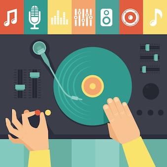 Plataforma giratória de vetor e dj mãos - conceito de música