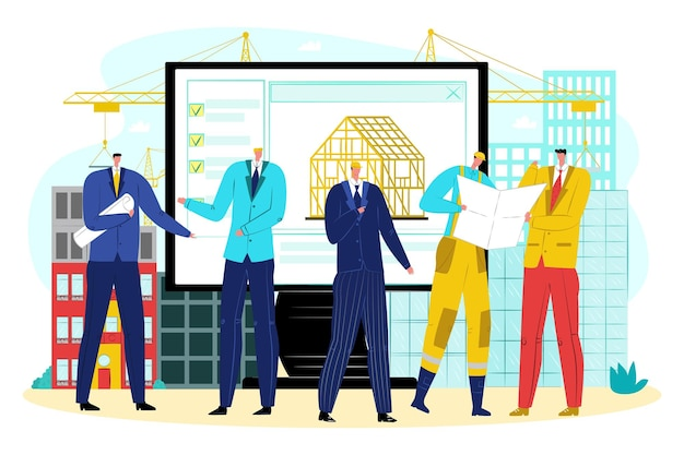 Plataforma online para engenharia de construção, ilustração vetorial. caráter de pessoas homem discute design de projeto de arquitetura moderna. engenheiro, trabalhador com capacete fica perto do canteiro de obras da indústria.