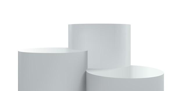 Plataforma ou palco pódio, suporte branco 3d do vetor, plano de fundo de exibição realista do produto. pedestal redondo de estrado ou pilares de plataforma de pódio para exibição ou apresentação de produtos Vetor Premium