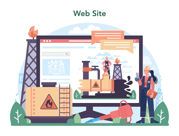 Plataforma ou serviço online da indústria de petróleo. plataforma pumpjack