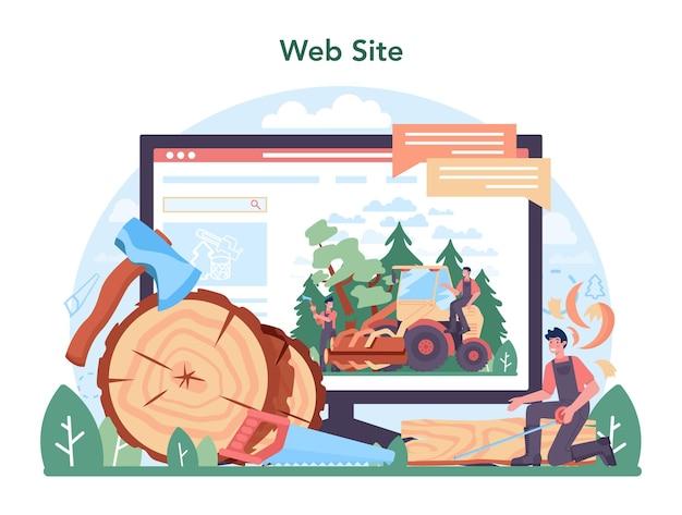 Plataforma ou serviço online da indústria madeireira. processo de extração e marcenaria. padrão de classificação da indústria global. local na rede internet. ilustração vetorial