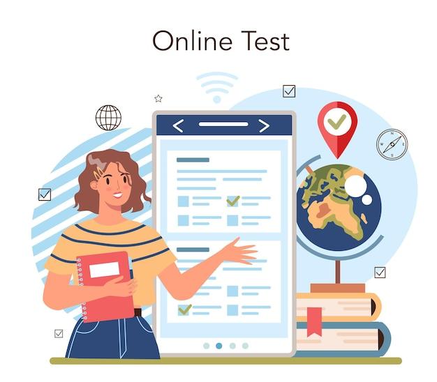 Plataforma ou serviço online de aula de geografia. estudando as terras, características