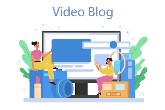 Plataforma ou serviço online de blogger de beleza de vídeo. celebridade da internet na rede social. blog de vídeo.
