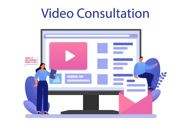 Plataforma ou serviço online de conteúdo do site. ilustração vetorial plana