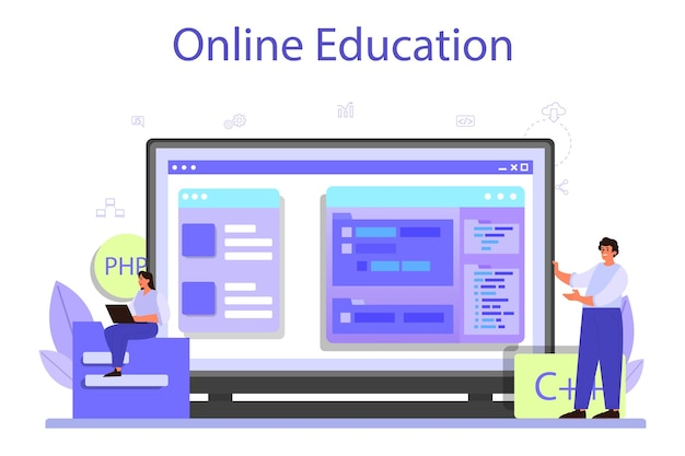 Plataforma ou serviço online de desenvolvimento de back-end. programas