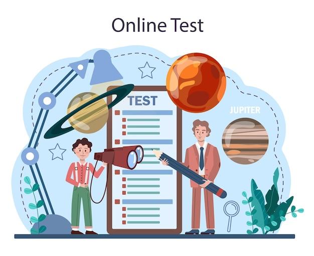 Plataforma ou serviço online de disciplinas escolares de astronomia. alunos procurando