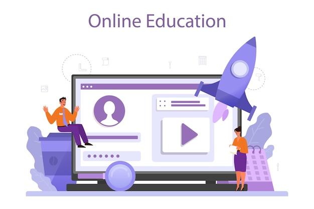 Plataforma ou serviço online de gerente de marca. o especialista em marketing cria um design único de uma empresa, estratégia de negócios. educação online. ilustração plana isolada