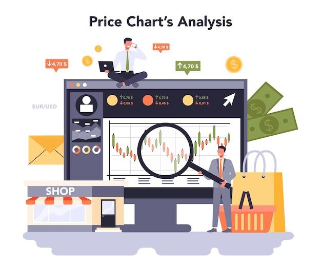 Plataforma ou serviço online de marketing de varejo. análise do gráfico de preços. ilustração em vetor plana isolada