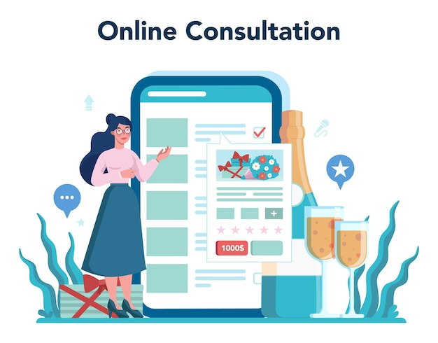 Plataforma ou serviço online de planejador de casamento. organizador profissional planejando eventos de casamento. consulta online.