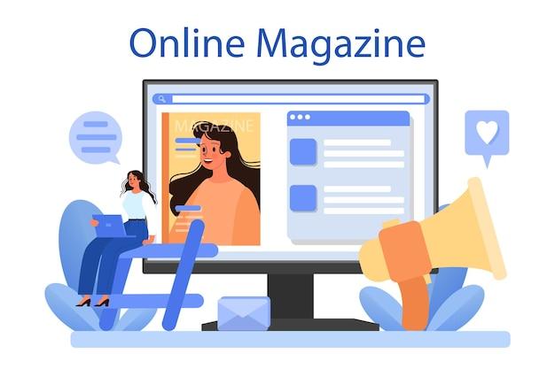 Plataforma ou serviço online de relações com a mídia. ilustração vetorial plana