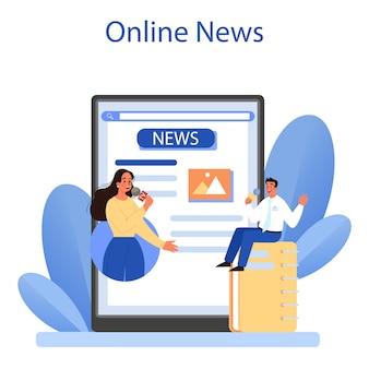 Plataforma ou serviço online de relações com a mídia. produzindo as notícias