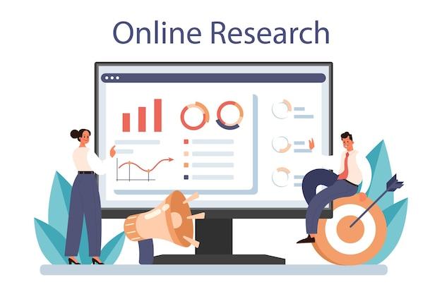 Plataforma ou serviço online de suporte da marca. desenho único de uma empresa ou desenvolvimento e promoção de produtos. pesquisa online. ilustração vetorial plana