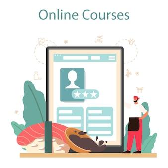 Plataforma ou serviço online do chef de sushi. chef do restaurante cozinhando rolos e sushi. trabalhador profissional. curso online.