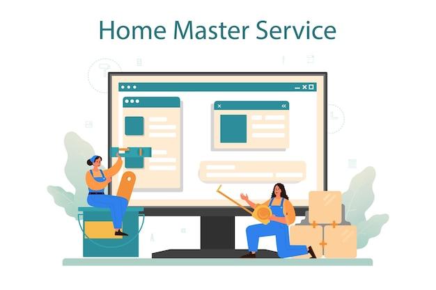 Plataforma ou serviço online mestre doméstico. reparador aplicando materiais de acabamento, papel de parede, azulejos e tinta de parede. local na rede internet.