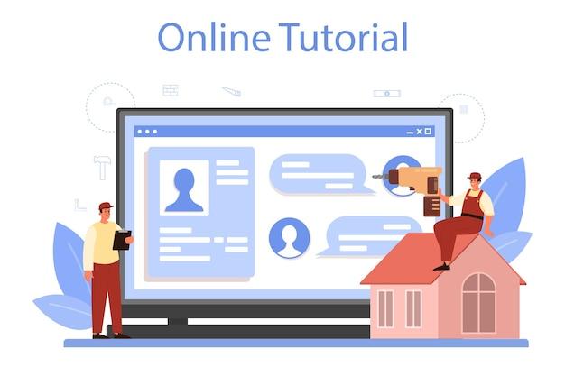Plataforma ou serviço online para operário de construção de telhado