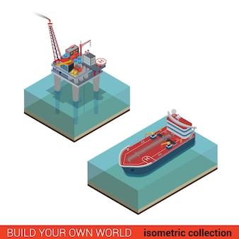 Plataforma petrolífera com heliporto helicóptero-tanque de transporte de plataforma no mar oceano