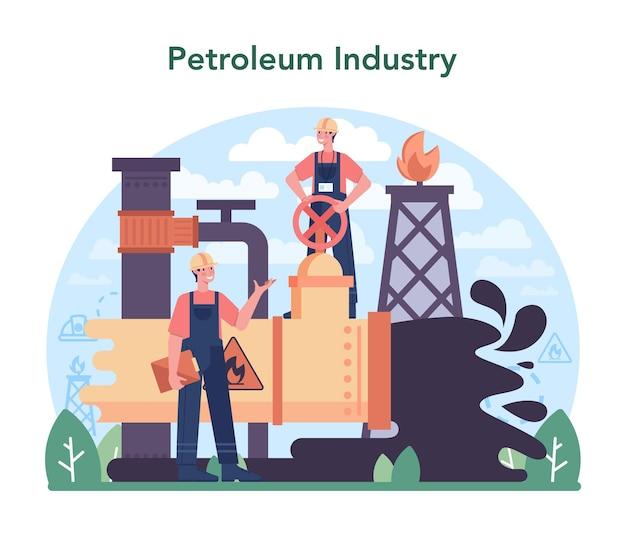 Plataforma pumpjack de extração de petróleo bruto do conceito da indústria de petróleo Vetor Premium