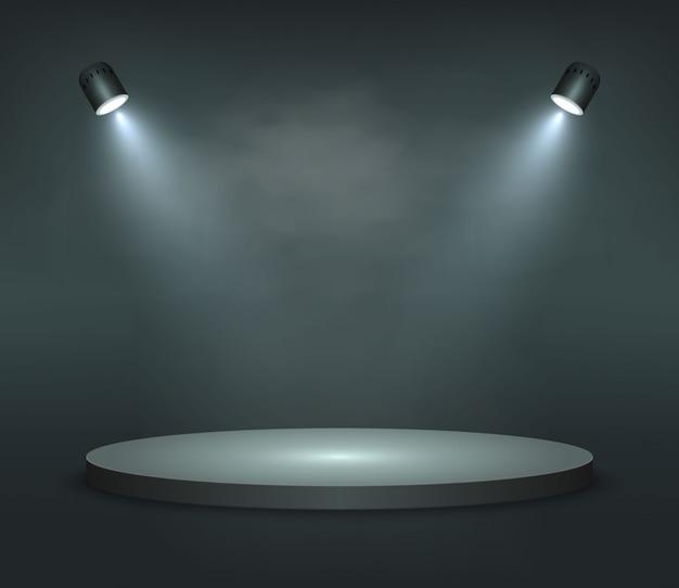 Plataforma realista, pódio ou pedestal em fundo preto
