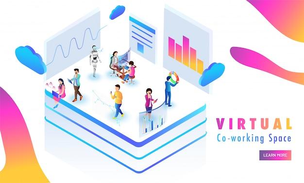 Plataforma virtual de co-working, dados de análise de pessoas em miniatura.