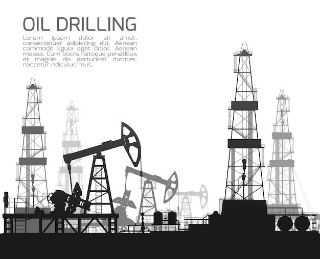 Plataformas de perfuração e bombas de óleo isoladas no fundo branco. ilustração do vetor de detalhe.