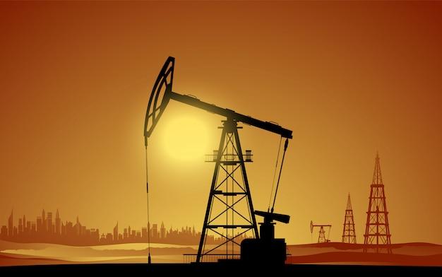 Plataformas de petróleo. produção de óleo. ilustração.