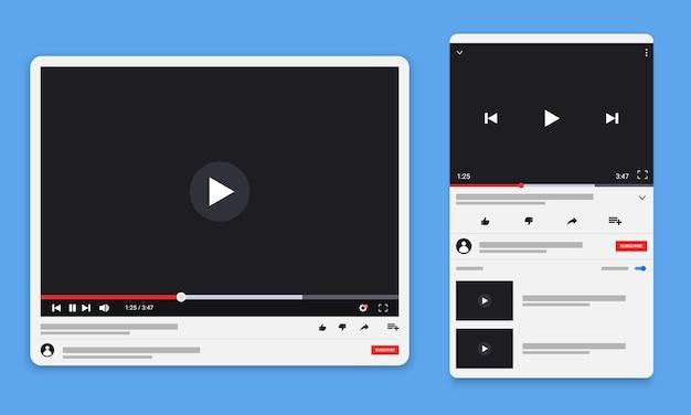Player de vídeo da web para desktop, modelo de design de interface de mídia social moderno