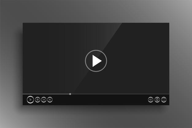 Player de vídeo escuro com botões prateados brilhantes