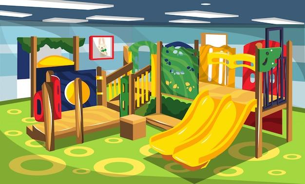 Playground com brinquedos para crianças slide e swing set