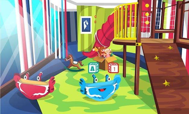 Playground na escola com escorregas de túnel e escadas
