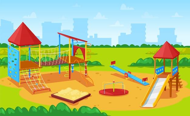 Playground para crianças cityscape, city yard park