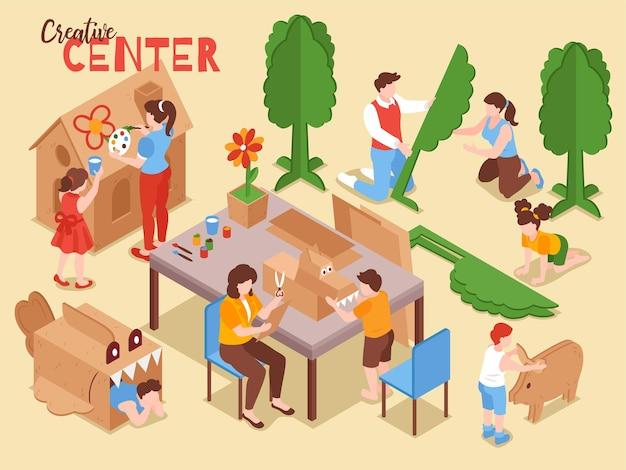 Playhouse de papelão para crianças crianças pequenas no centro criativo, equipamento de sala de jogos, ilustração isométrica com pais de crianças fazendo brinquedos