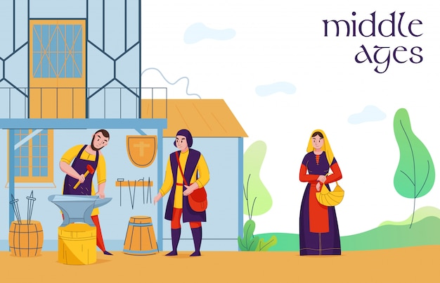 Plebeus de assentamento de meia-idade na composição plana de trabalho com os camponeses de ferreiro medieval vila terra trabalhadores ilustração vetorial