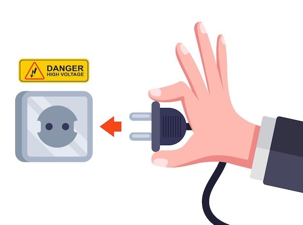 Plugues e soquetes de alimentação ca. conecte o equipamento elétrico. ilustração vetorial plana.