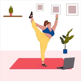 Plus size mulher fazendo ioga. ioga online. ilustração vetorial plana