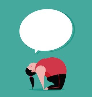 Plus tamanho mulher fazendo yoga fitness para saudável
