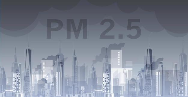 Pm25 na arquitetura do plano de fundo da cidade com desenhos modernos para uso em revista ou cartaz na web