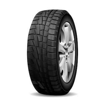 Pneu de inverno, aro de roda realista pneu cromado.