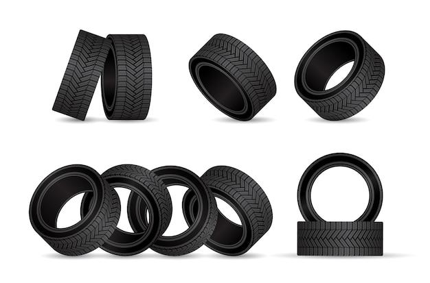 Pneu realista, pneus com rodas de borracha preta.