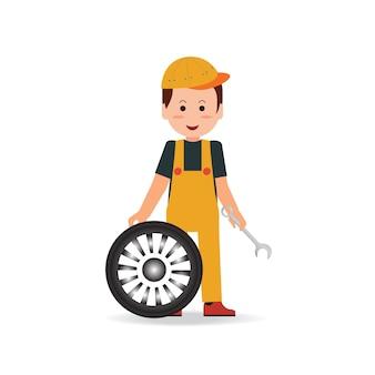 Pneu serviço homem trabalhador trocando pneu.