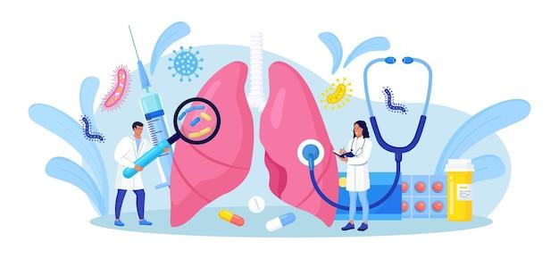 Pneumologia. pequenos médicos examinando os pulmões. tuberculose, pneumonia, tratamento ou diagnóstico do câncer de pulmão. inspeção de órgãos internos em busca de doenças, doenças ou problemas do sistema respiratório