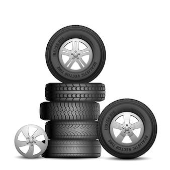 Pneus de borracha. rodas de carro realistas isoladas. serviço aito, conserto de pneus