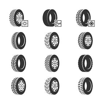 Pneus de carro, ícones de vetor de serviço auto de disco de roda