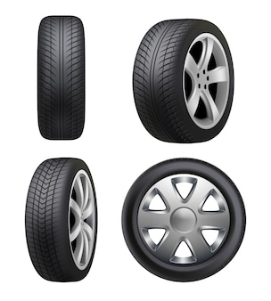 Pneus realistas. pneus de automóvel para fotos de carros isolados. ilustração pneu automóvel, roda auto borracha, transporte de veículos automóveis